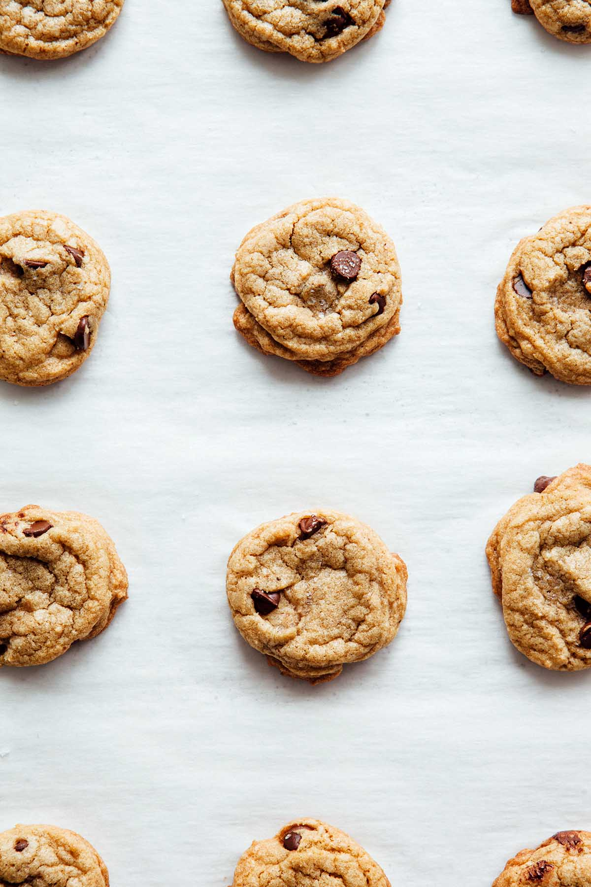 Overhead close up of brown butter chocolate chip cookies.
