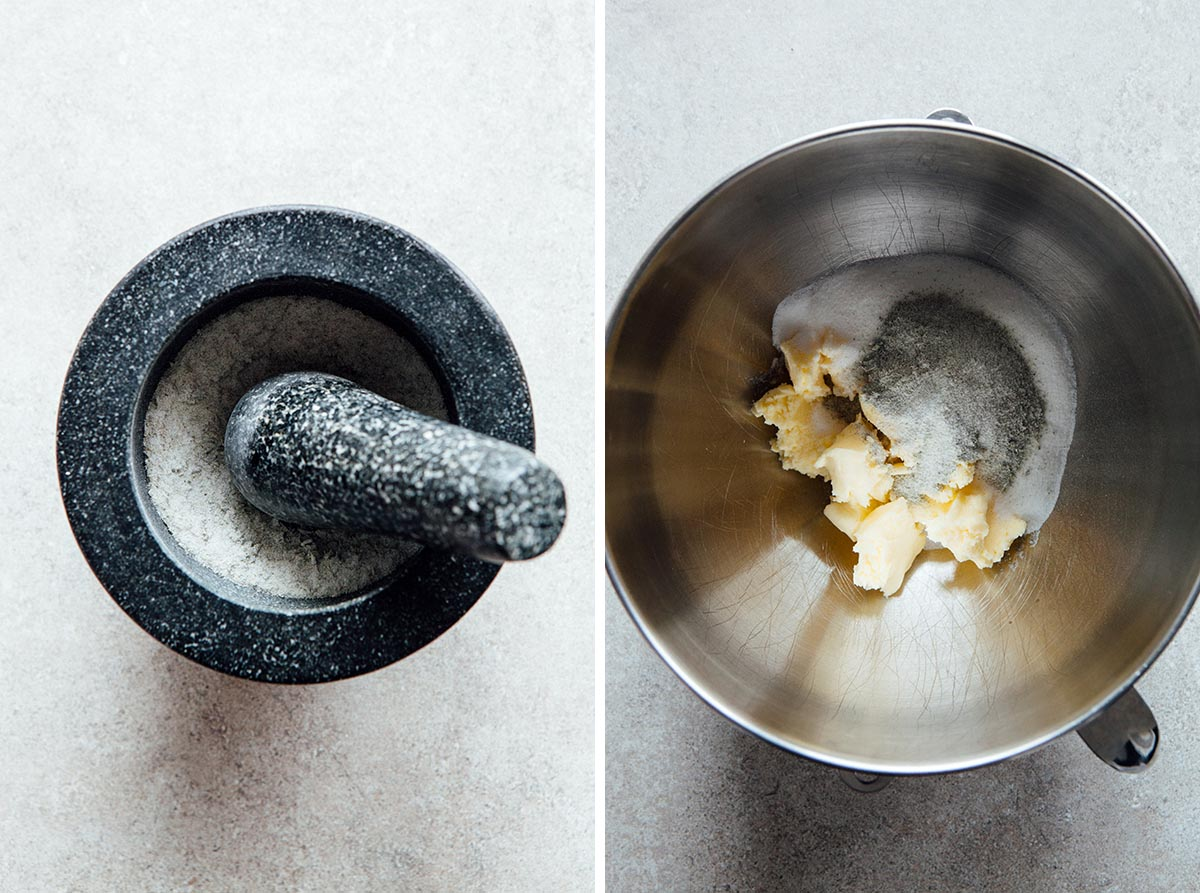 A mortar and pestle with lavender sugar, and a mixing bowl with butter and sugar in it.