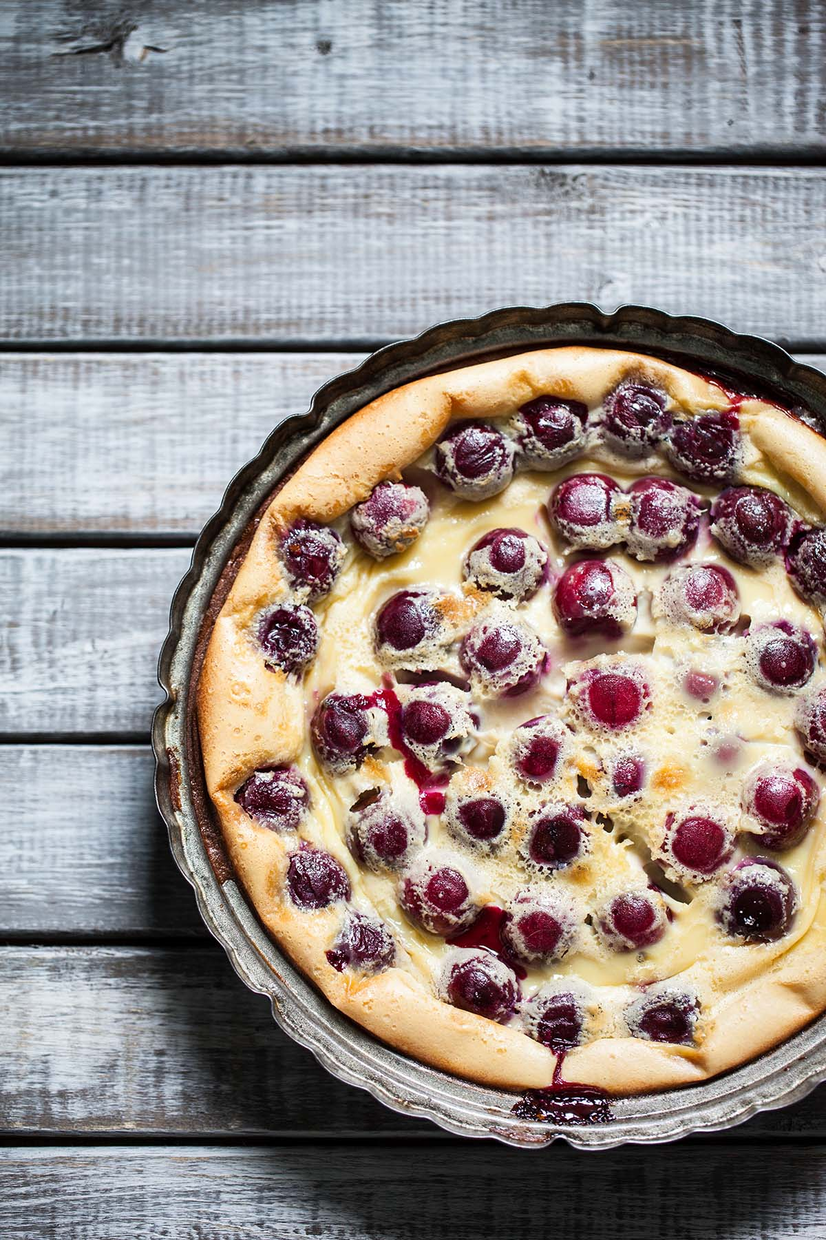 Overhead image of cherry clafoutis.