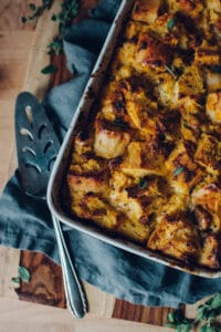Roasted squash, chorizo, and blue cheese strata crispy and golden out of the oven.