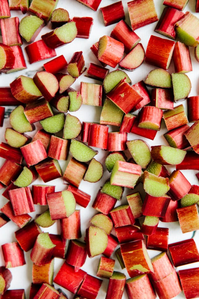Chopped rhubarb on a marble background.