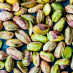 Close up of shelled pistachios.