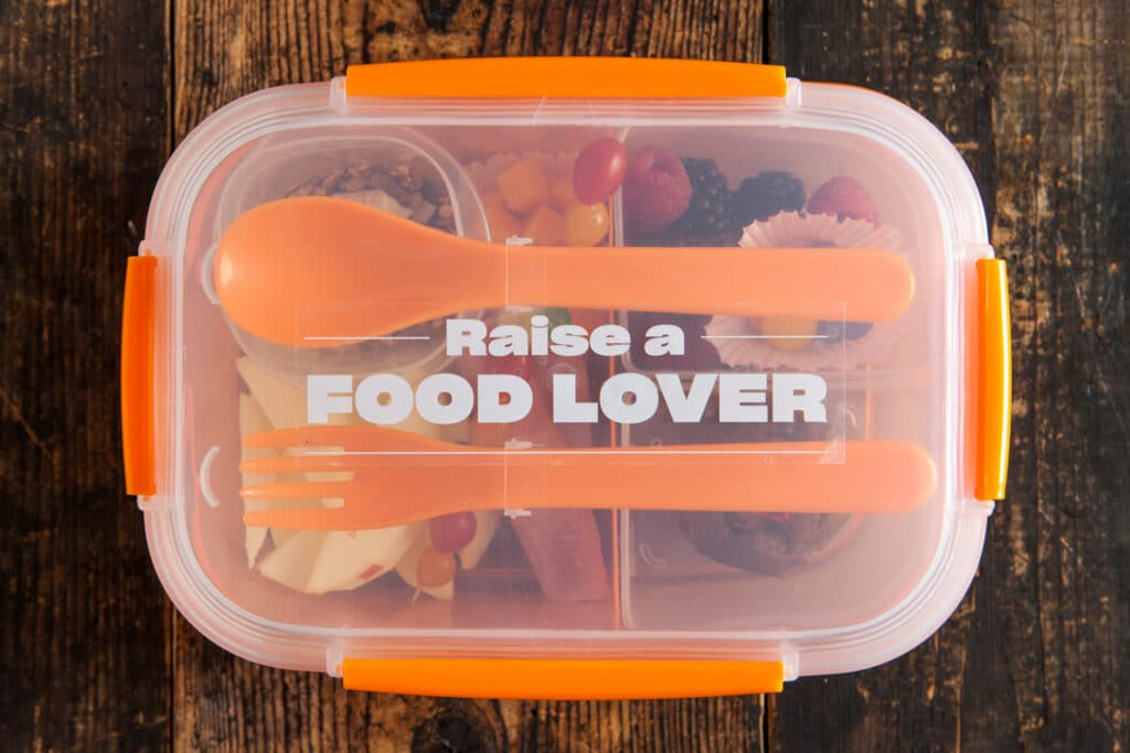 Overhead of a plastic bento box lunch with lid on.