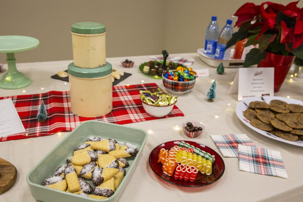 A party table with platters of sweets.