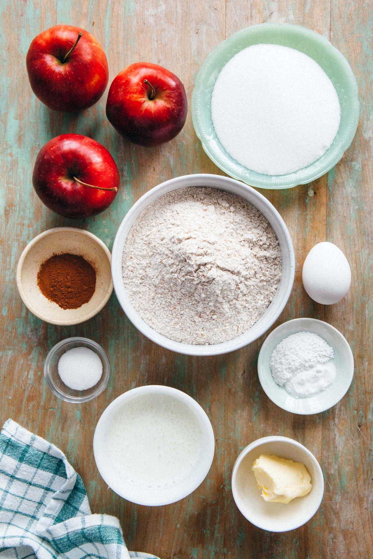 Ingredients to make apple cinnamon quick bread.