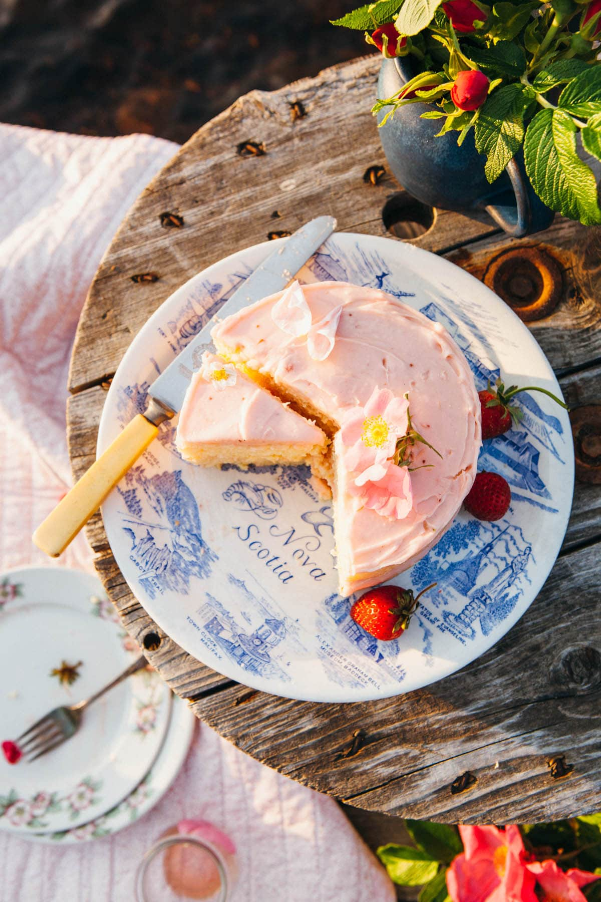 A 6-inch lemon buttermilk cake with strawberry jam-cream cheese icing.