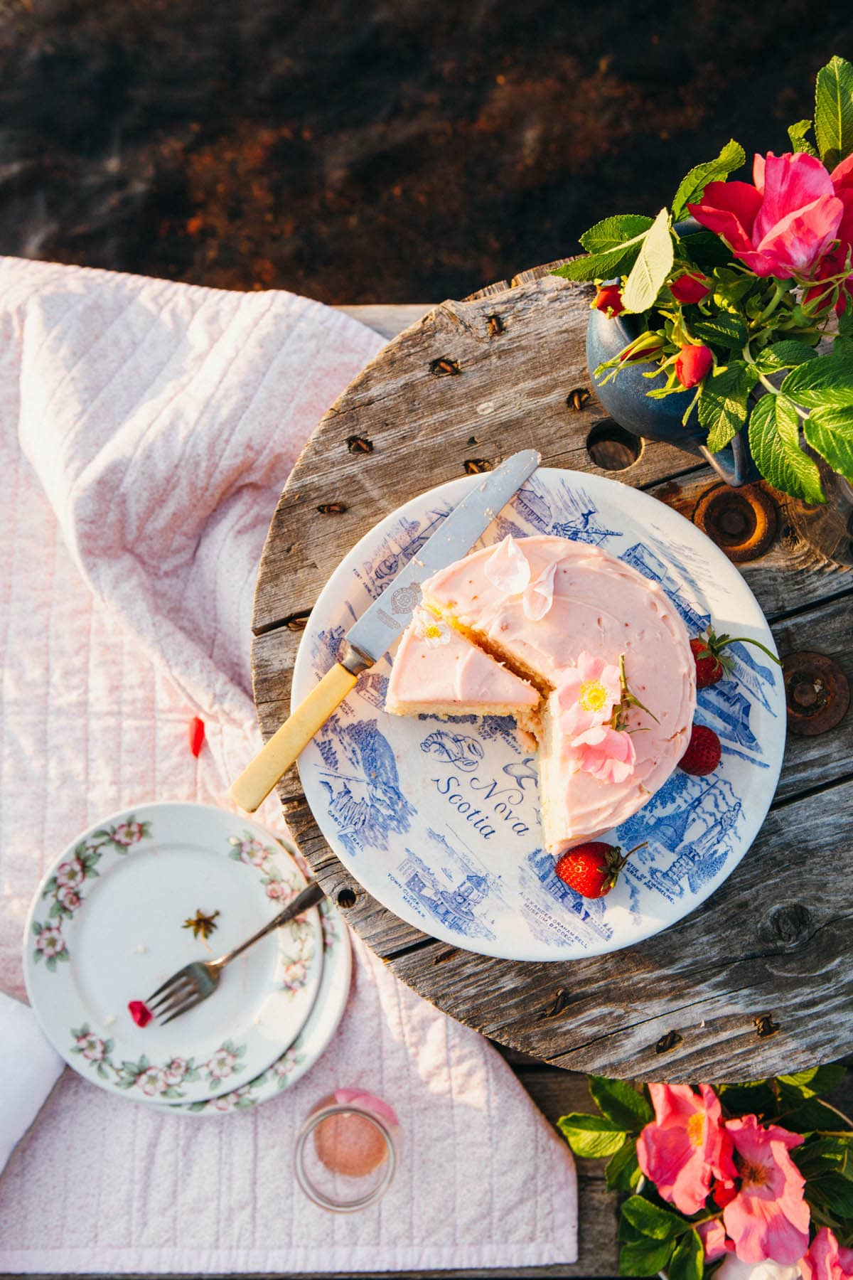 A sliced cake with pink frosting on a blue and white plate sitting on a weathered grey table on a lakeside dock.