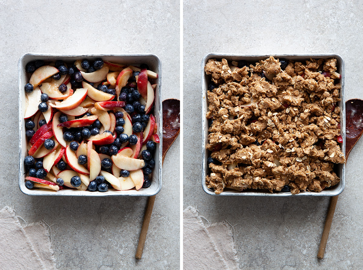 Vegan gluten-free nectarine blueberry crisp with and without topping.