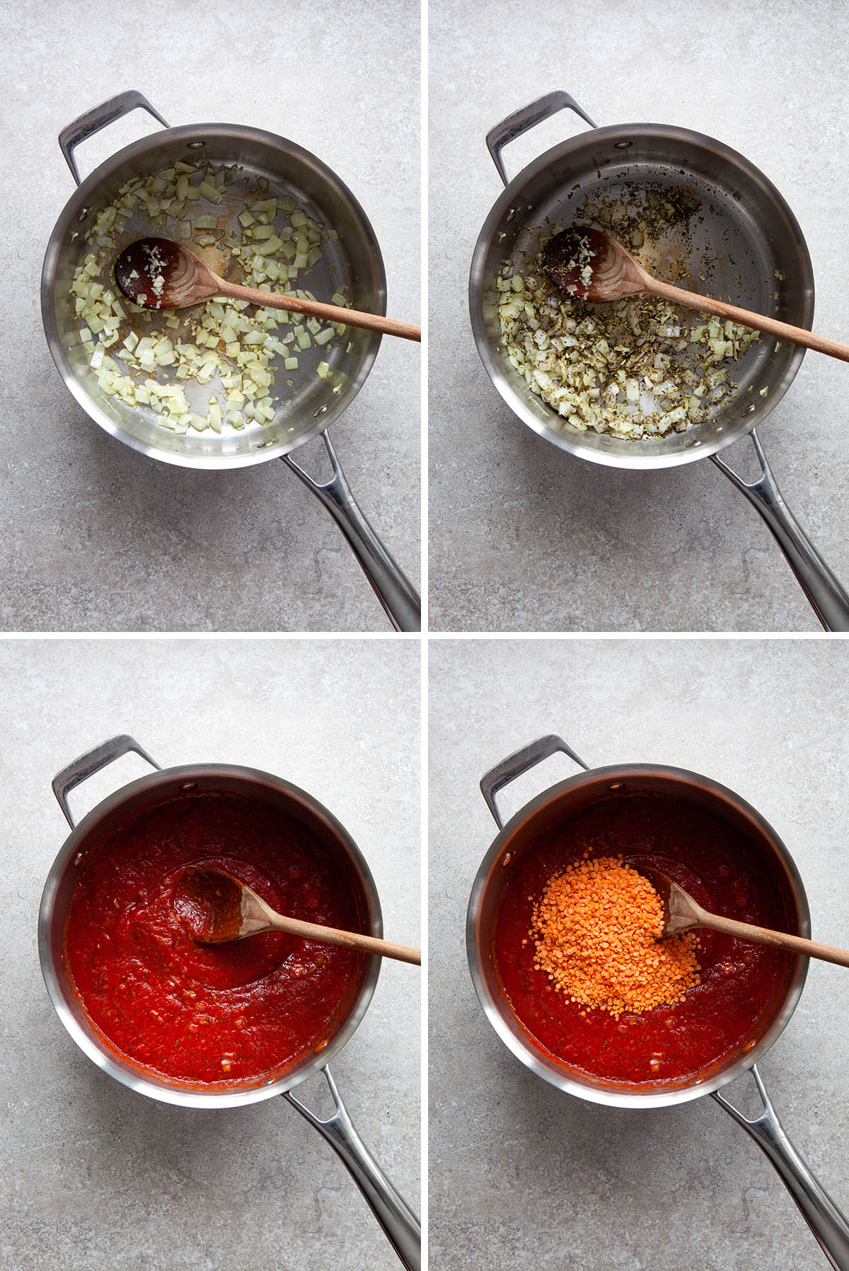 Process shots for tomato sauce with lentils.