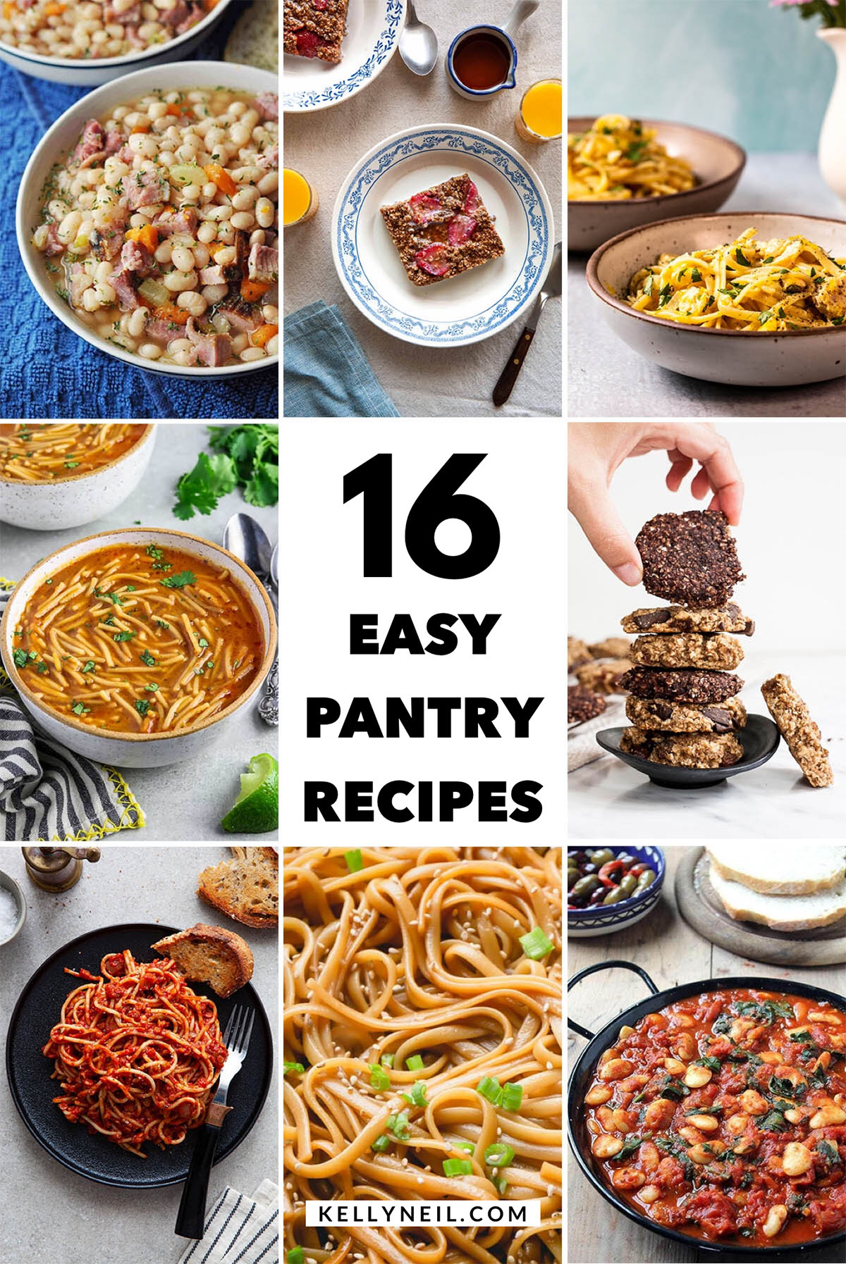 Collage for post about 16 Easy Pantry Recipes.