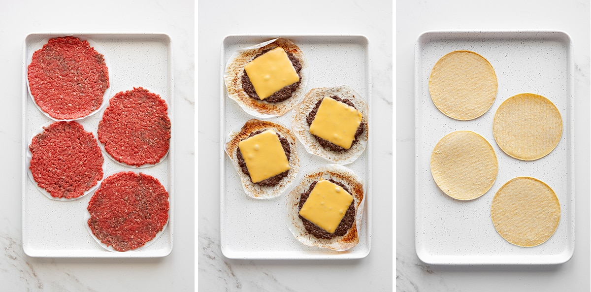 Sheet pan cheeseburger how-to photos.