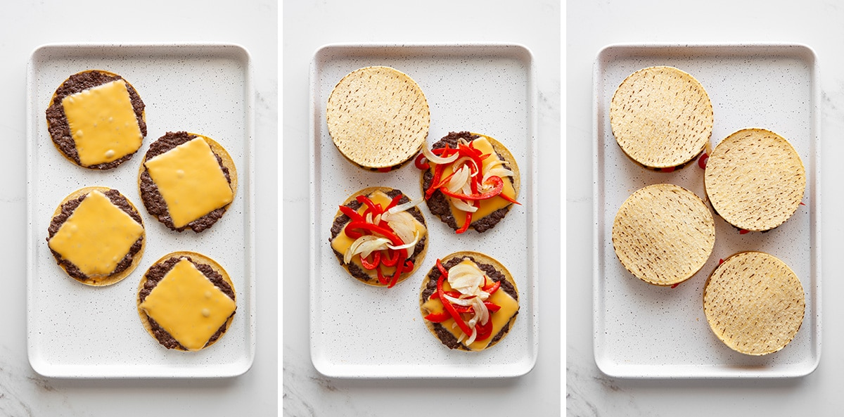 Process shots for quesadilla burgers.