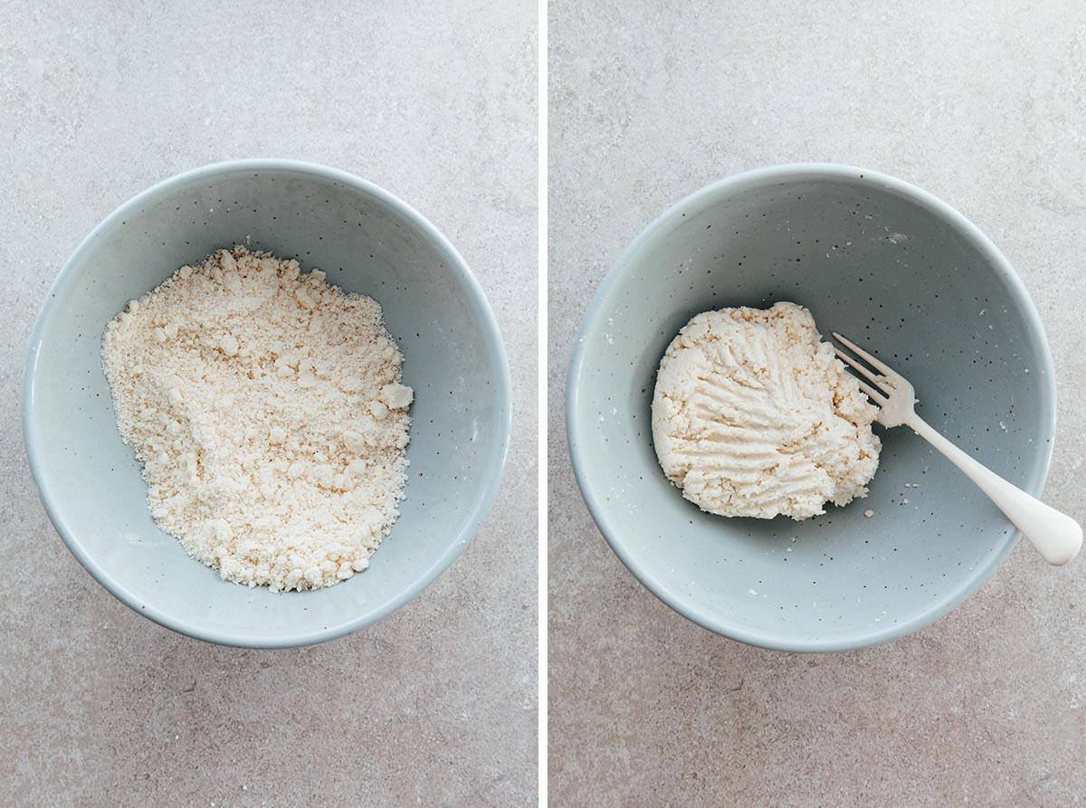 Unmixed and mixed pie dough in a bowl.