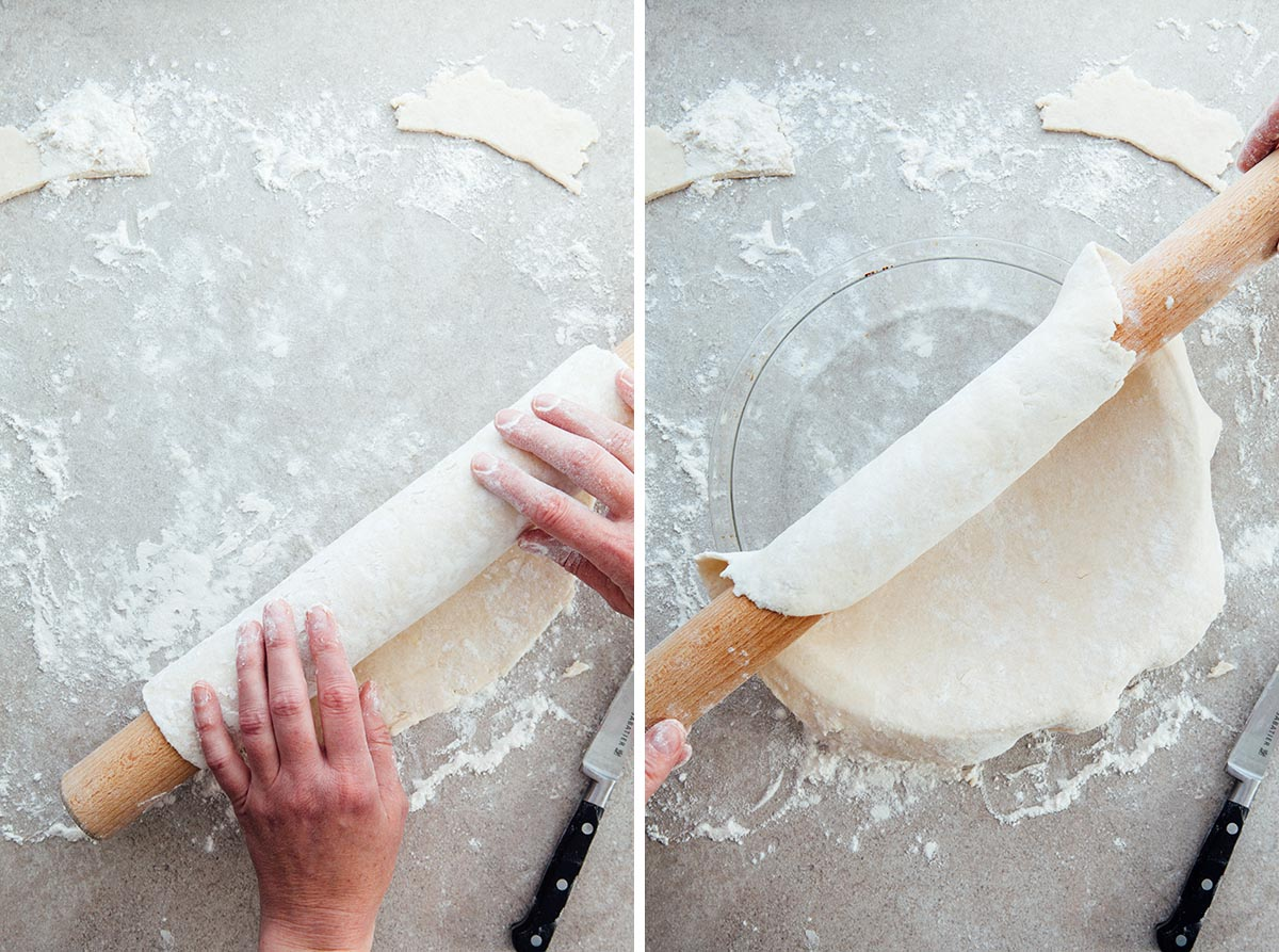 Rolling pie dough over and into a pie plate.