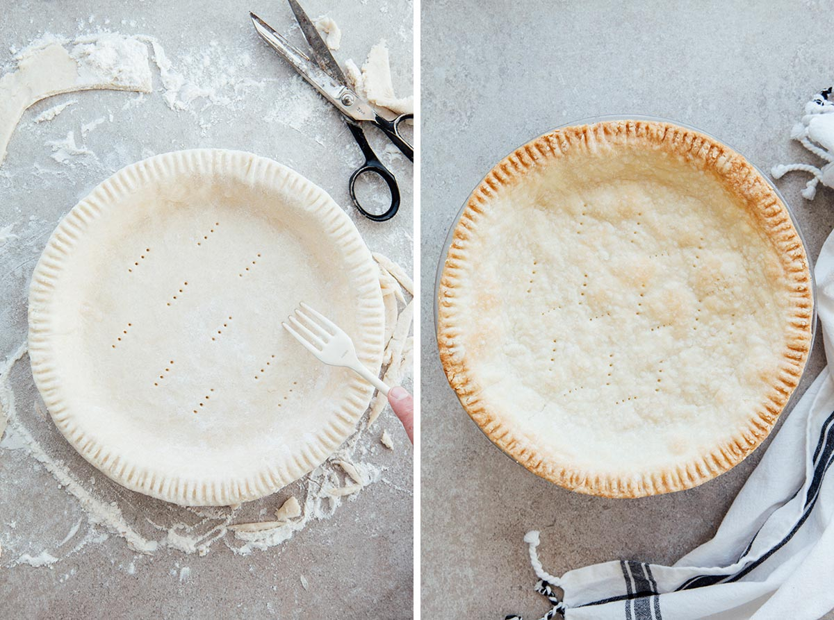 Poking an unbaked pie shell with a fork, and a par-baked pie crust.