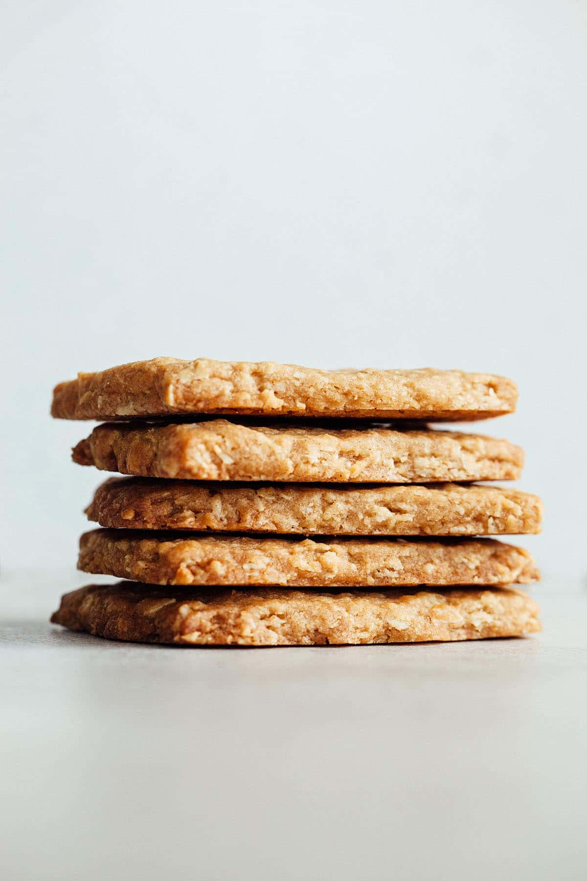 A stack of Nova Scotia oatcakes close up.