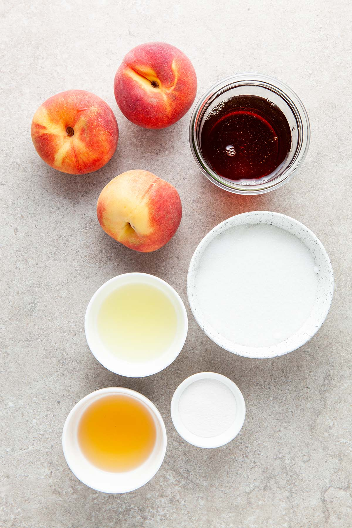 Ingredients to maple small batch peach jam.
