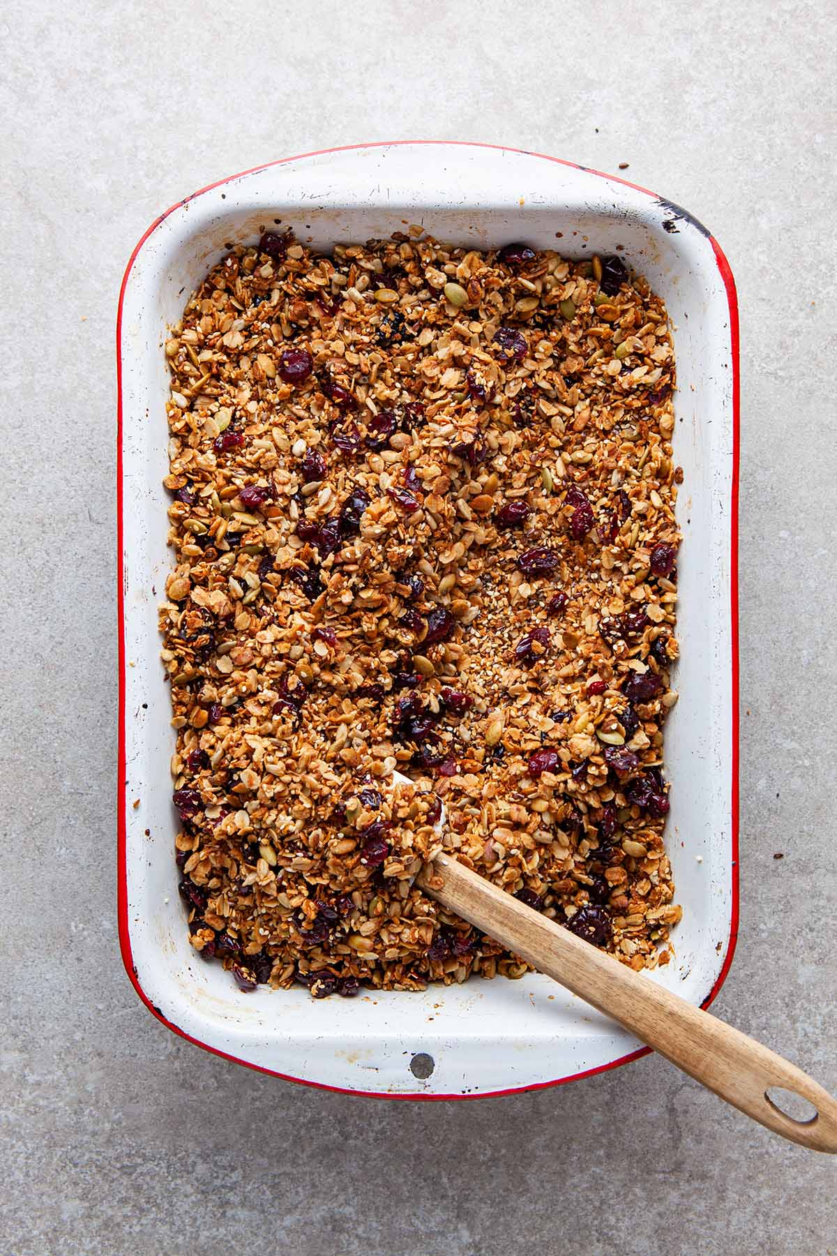 A pan of baked nut-free granola.