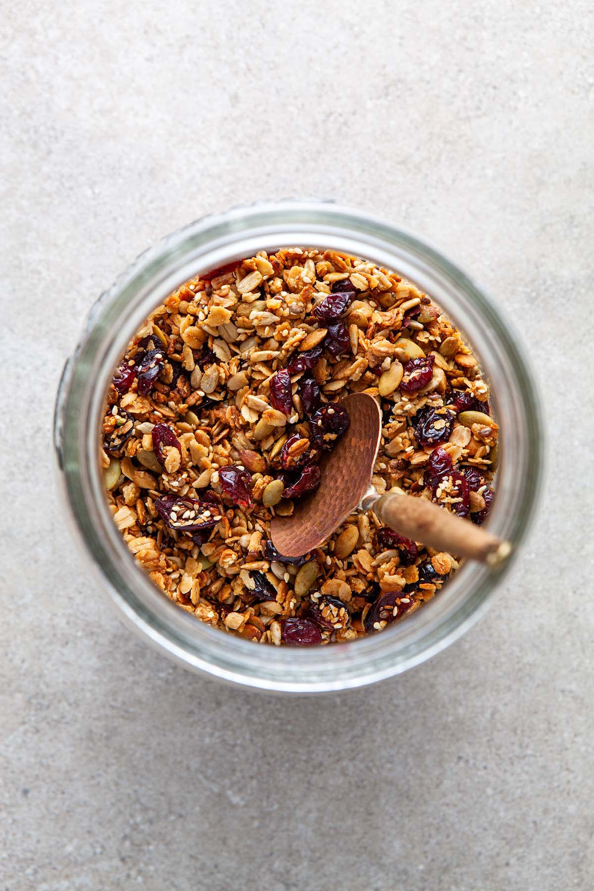 Overhead shot of the inside of a jar of nut-free granola.
