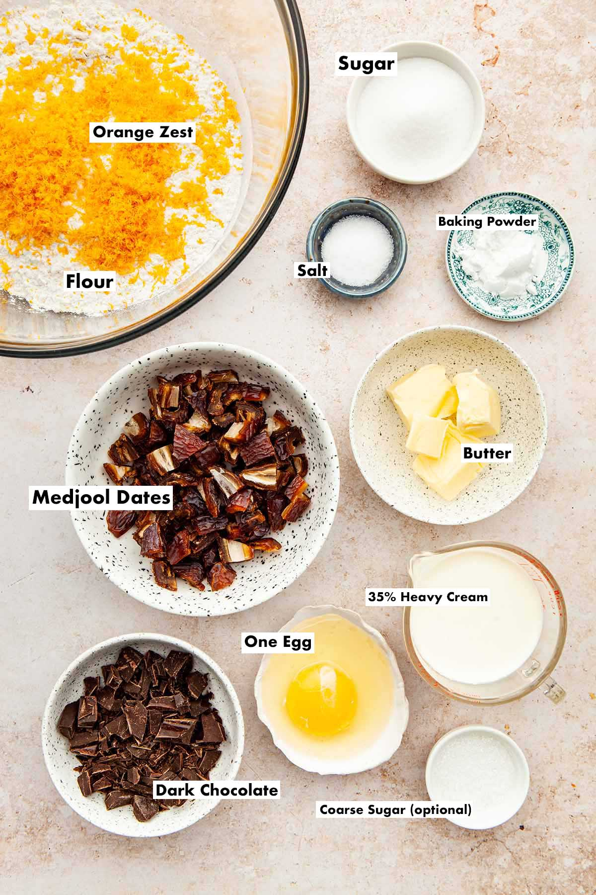 Ingredients to make date and orange scones.