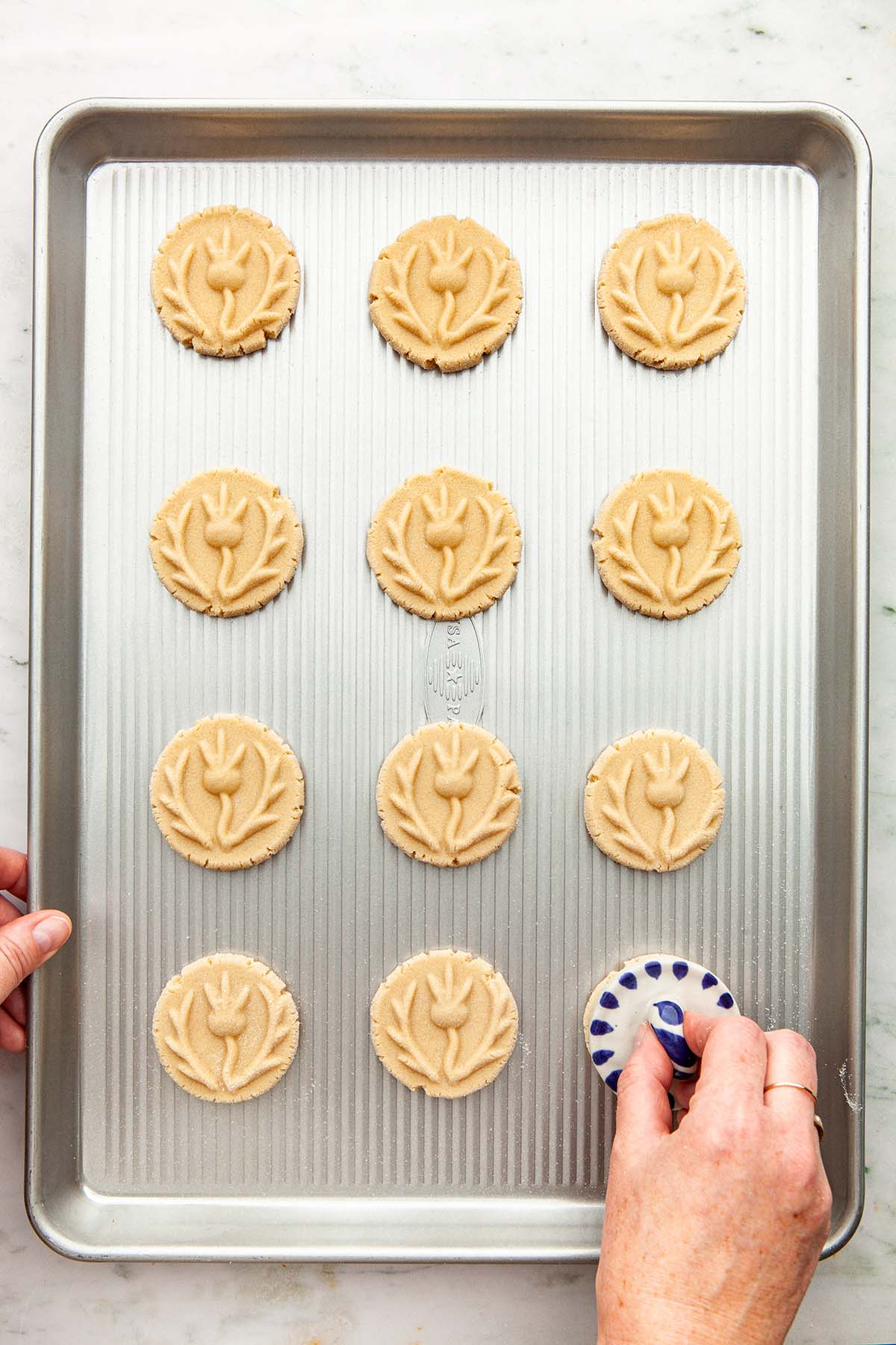 A hand stamping cookies with a ceramic thistle shortbread stamp.