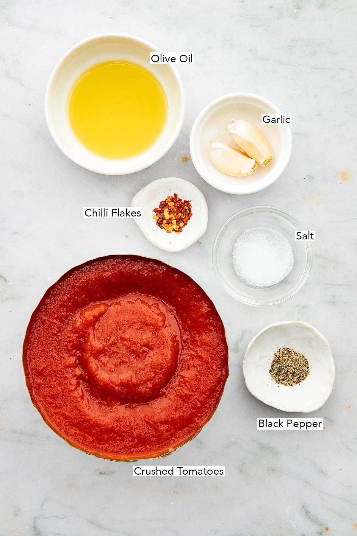 Ingredients to make homemade tomato sauce.